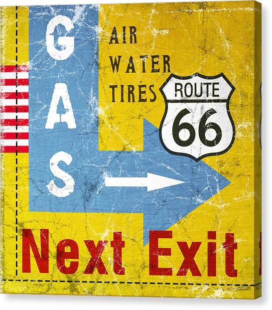 Traffic Canvas Print - Gas Next Exit- Route 66 by Linda Woods