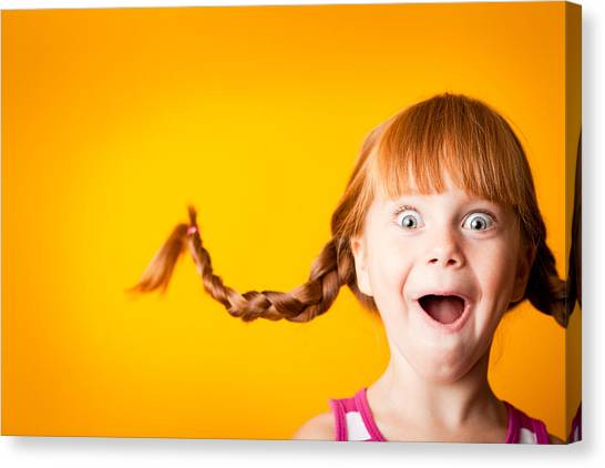 Gasping Red-haired Girl With Upward Braids And Excited Look Canvas Print by Ideabug