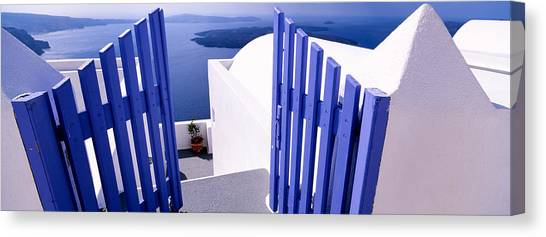 Greece Canvas Print - Gate At The Terrace Of A House by Panoramic Images