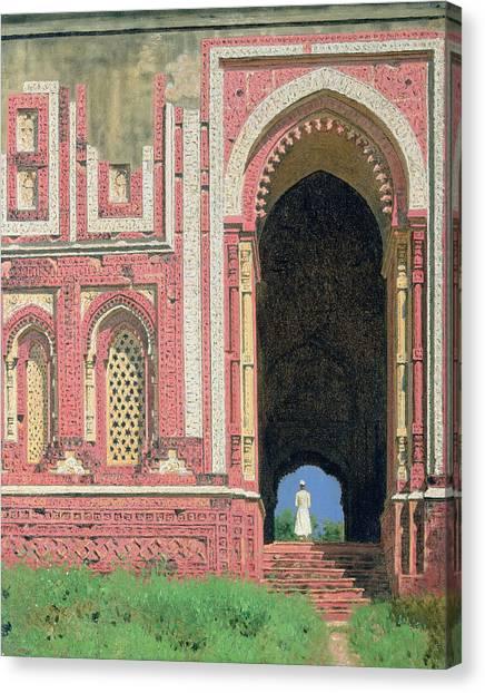 Muslim Canvas Print - Gate Near Kutub-minar, Old Delhi, 1875 Oil On Canvas by Vasili Vasilievich Vereshchagin