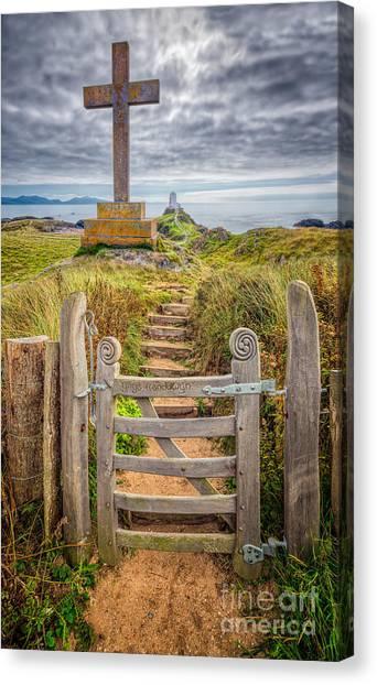 Beach Cliffs Canvas Print - Gate To Holy Island  by Adrian Evans