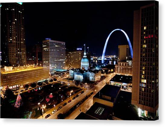 Gateway Arch St Louis Night Canvas Print