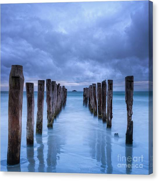 Gathering Storm Clouds Over Old Jetty Canvas Print