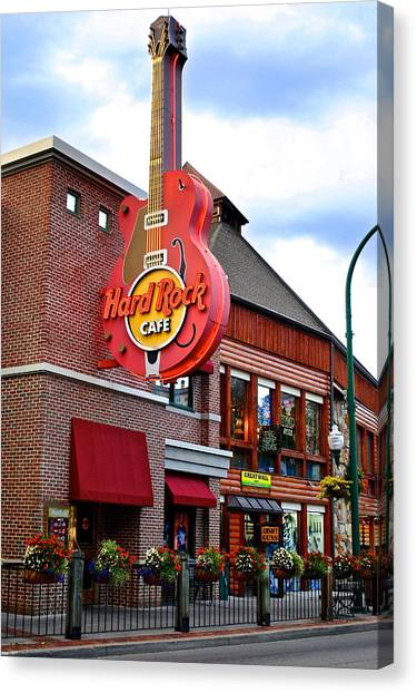 Jimmy Page Canvas Print - Gatlinburg Hard Rock Cafe by Frozen in Time Fine Art Photography
