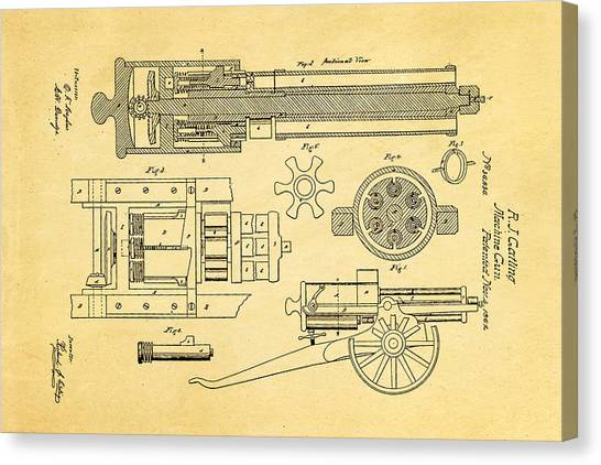 Nra Canvas Print - Gatling Machine Gun Patent Art 1862 by Ian Monk