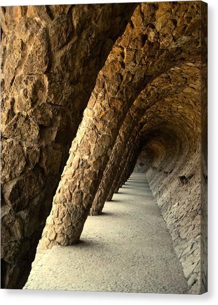 Gaudi Columns Canvas Print by Todd Hartzo