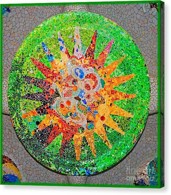 Gaudi Detail Green Canvas Print