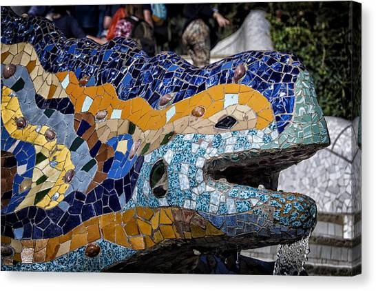 Salamanders Canvas Print - Gaudi Dragon by Joan Carroll