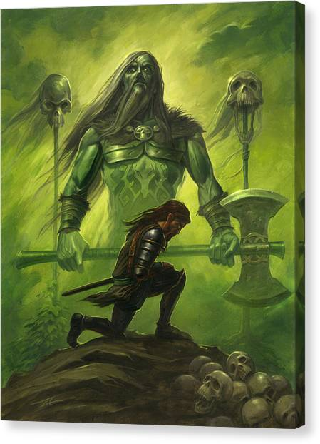 World Of Warcraft Canvas Print - Gawain And The Green Knight by Alan Lathwell