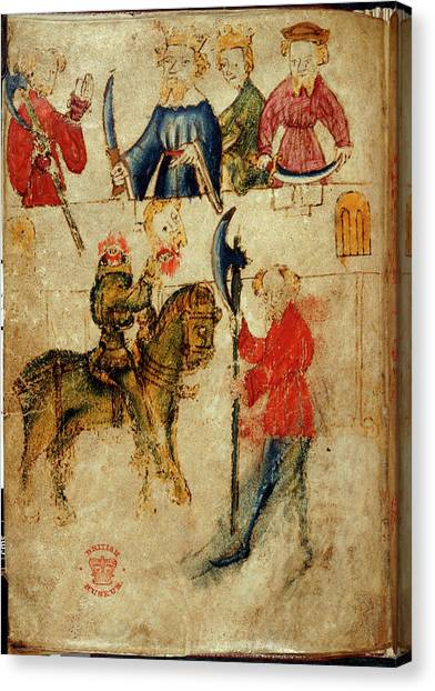 Attendant Canvas Print - Gawain And The Green Knight by British Library
