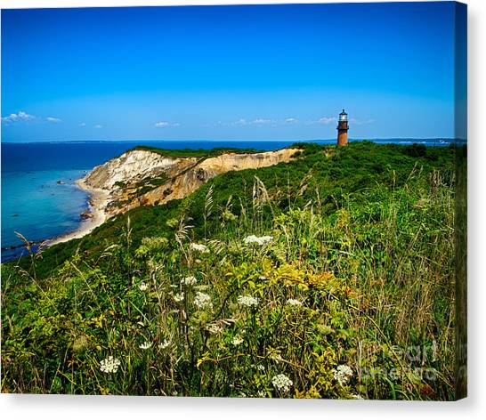 Gay Head Light And Cliffs Canvas Print