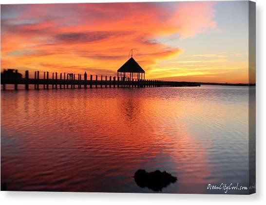 Gazebo's Sunset Reflection Canvas Print