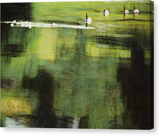 Geese On Pond Canvas Print by Andy Mars