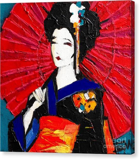 Japanese Umbrella Canvas Print - Geisha by Mona Edulesco