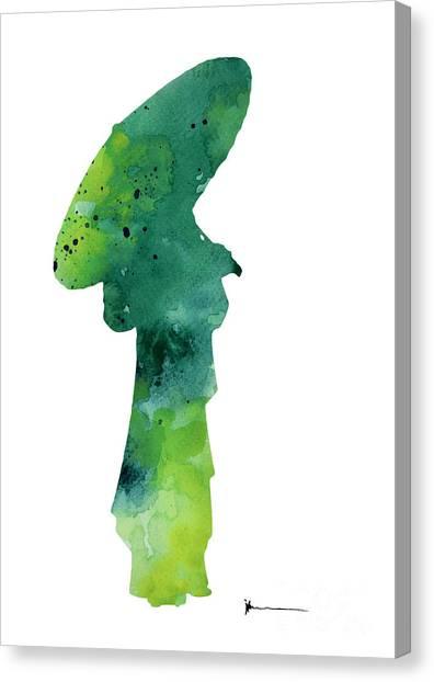 Japanese Umbrella Canvas Print - Geisha Figurine Watercolor Art Print Painting by Joanna Szmerdt