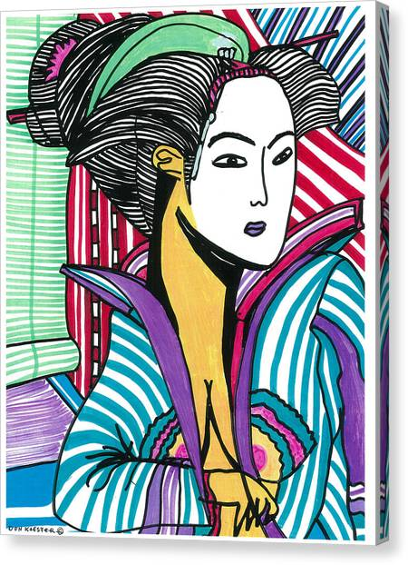 Geisha Green And Blue Canvas Print