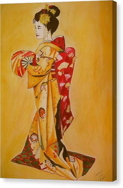 Geisha In Gold Kimono Canvas Print by Sacha Grossel