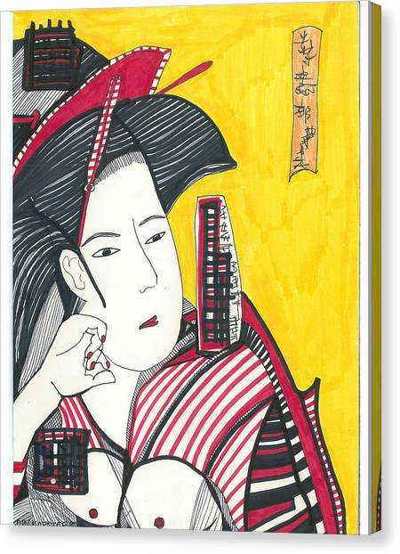 Geisha In Red And Black Canvas Print