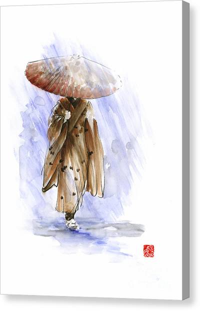 Japanese Umbrella Canvas Print - Geisha Japanese Woman Custom Handmade Paper Umbrella Rain Japan Japanese Painting Art  by Mariusz Szmerdt