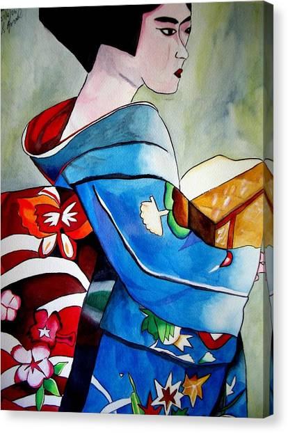 Geisha With Blue Kimono Canvas Print by Sacha Grossel