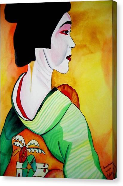 Geisha With Green Kimono Canvas Print by Sacha Grossel