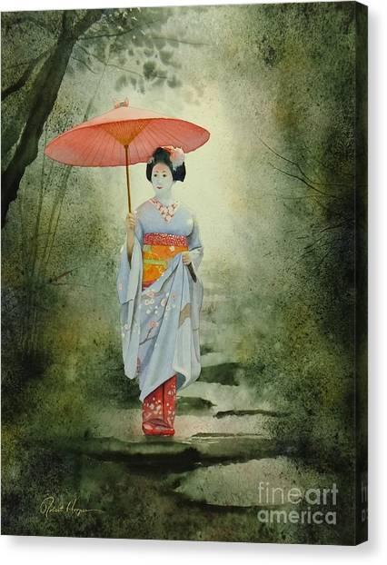 Japanese Umbrella Canvas Print - Geisha With Umbrella by Robert Hooper