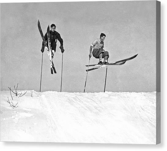 Acrobatic Canvas Print - Gelandesprungs In St-sauveur by Underwood Archives