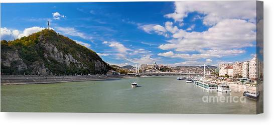 Parliament Hill Canvas Print - Gellert Hill And Danuber River In Budapest by Michal Bednarek