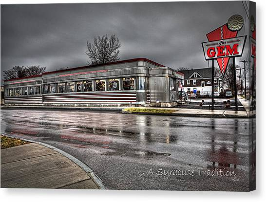 Diners Canvas Print - Gem A Syracuse Tradition by Everet Regal