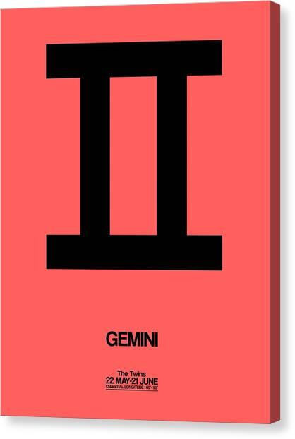Signs Canvas Print - Gemini Zodiac Sign Black by Naxart Studio