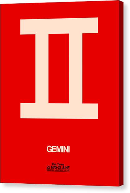 Signs Canvas Print - Gemini Zodiac Sign White On Red by Naxart Studio