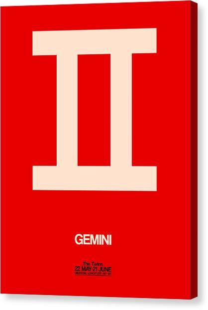 Canvas Print - Gemini Zodiac Sign White On Red by Naxart Studio