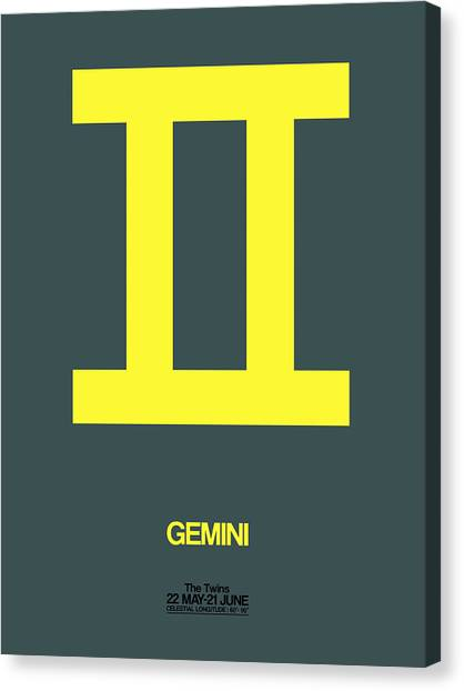 Signs Canvas Print - Gemini Zodiac Sign Yellow by Naxart Studio