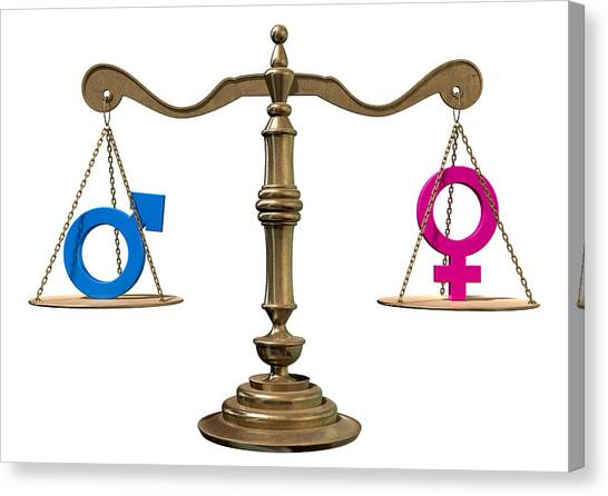 Impartial Canvas Print - Gender Equality Balancing Scale by Allan Swart