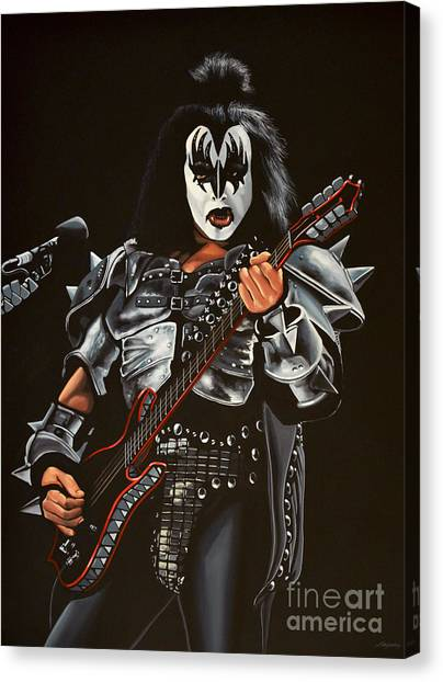 Concerts Canvas Print - Gene Simmons Of Kiss by Paul Meijering