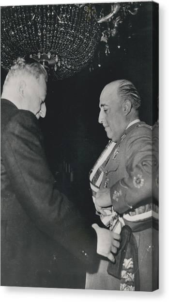 General Franco Decorated. Receives Garsnd Of The Omeyas - Canvas Print by Retro Images Archive