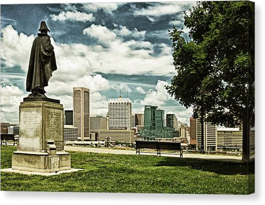 General Smith Overlooks Baltimore Harbor Canvas Print
