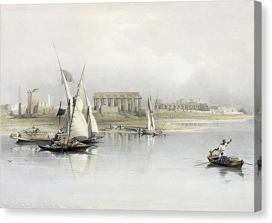 The Nile Canvas Print - General View Of The Ruins Of Luxor From The Nile by David Roberts