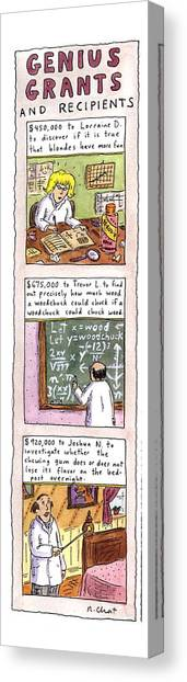 Genius Canvas Print - Genius Grants And Recipients by Roz Chast
