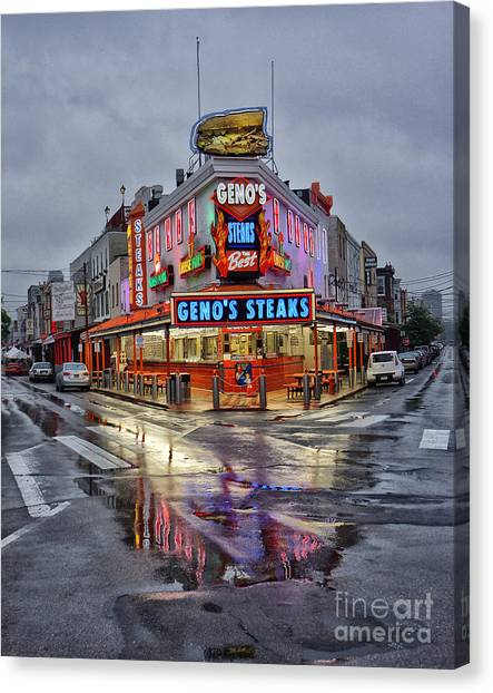 Steak Canvas Print - Geno's 7 by Jack Paolini