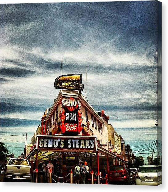Philadelphia Canvas Print - Geno's Brotherly Love by Chanda Causer