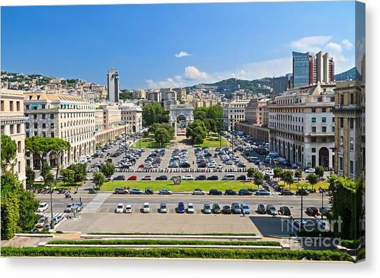 Genova - Piazza Della Vittoria Overview Canvas Print