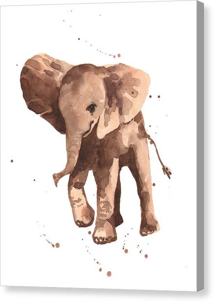 Elephants Canvas Print - Gentle Graham Elephant by Alison Fennell