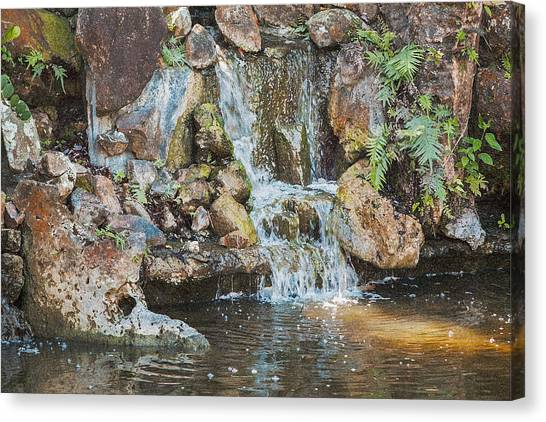 Canvas Print featuring the photograph Gentle Waterfall With Sunbeam by David Coblitz
