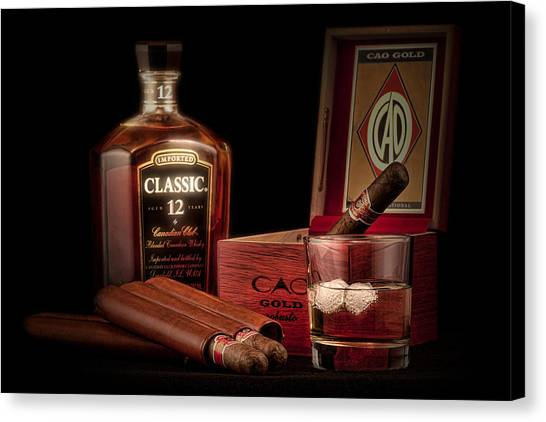 Amber Canvas Print - Gentlemen's Club Still Life by Tom Mc Nemar
