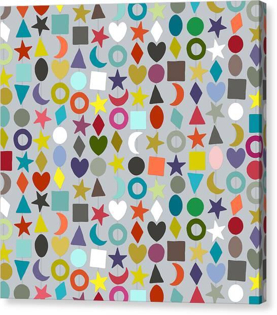 Pattern Canvas Print - Geo Garland Silver by Sharon Turner