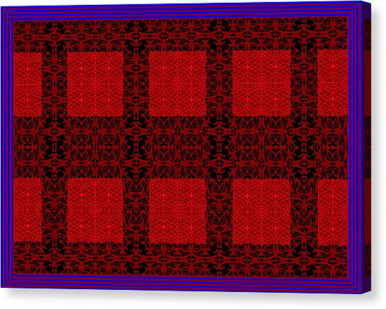 Geometric Abstract Stereo In Red Canvas Print