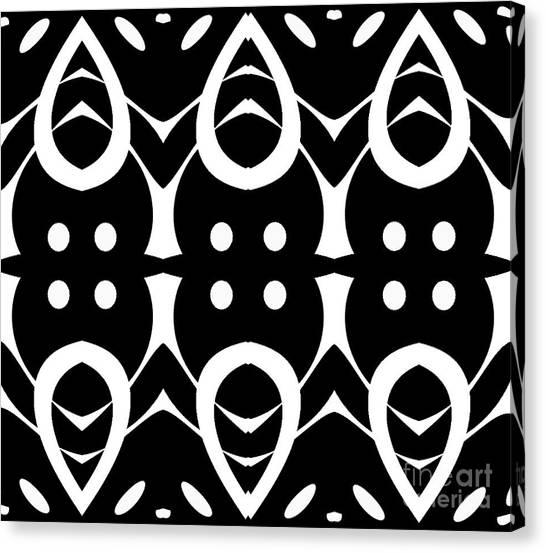 Geometric Black White Pattern Art Print No.282. Canvas Print by Drinka Mercep