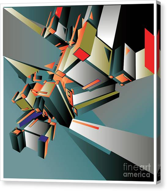 Fractal Canvas Print - Geometric Colorful Design Abstract by Singpentinkhappy