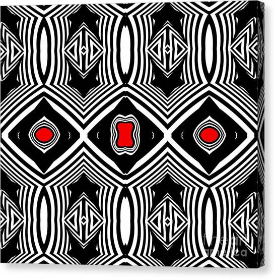 Pattern Black White Red Op Art No.389. Canvas Print by Drinka Mercep